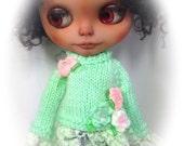 Spring greens , Oversized jumper , Blythe,Pullip,MonsterH,sleepingelf bjds