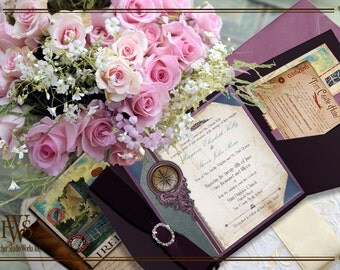The Medieval Castle Destination Wedding invitation-with luggage ticket rsvp and travel inserts