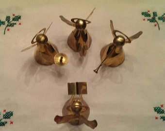 Set of 4 Brass Angel Christmas Ornaments