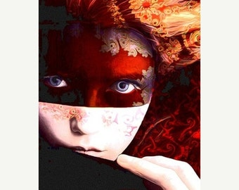 On Sale Fine Art Archival Giclee Print, Portrait of a Woman, Photomontage, Collage, Digital Artwork, Title: Fall's Awakening.