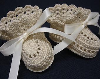 Christening Baby Shoes Crochet Christening Booties ECRU Newborn Baby Girl or Reborn Doll