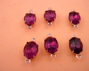 6 Vintage Amethyst purple Oval Glass Charms 10x8 2  ring closed back silver tone connectors