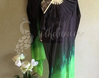 "Silk Fan Veils, 36"" x approx 60"" in Envy - black, emerald and lime"