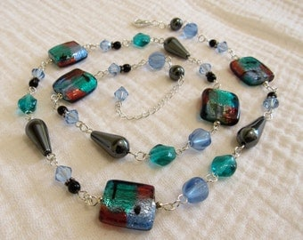Blue, Teal and Black Beaded Necklace with Adjustable Length Sterling Silver Clasp