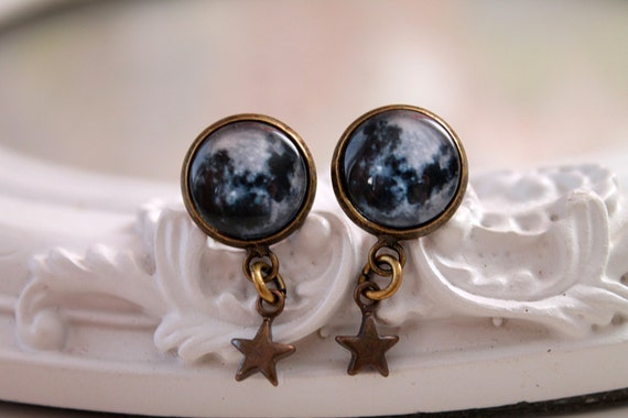 Moon  earrings with star dangles pretty cute black black white astronomy Wicca