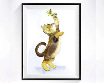 Kitty painting Original - Original painting Framed brown cat wall hanging Kitty wall art Cat artwork Cute cat Gift for her - 8.5 x 14 ORIG