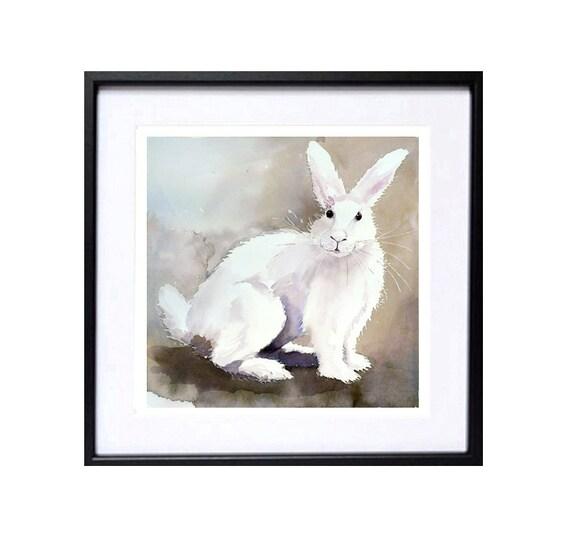 A Bunny Rabbit Painting / Watercolor PRINT / Farm animal animal artwork / Wild Life Woodlands Bunny PetEaster Rabbit