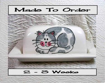 Smiling Grey Tabby Cat On Ceramic Butter Dish Handpainted Original by Grace M Smith