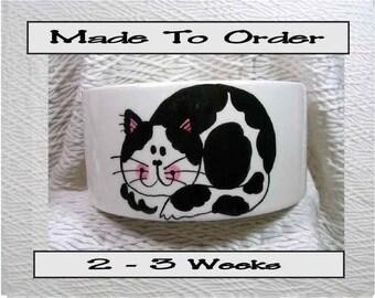 Medium Cat Bowl Black & White Smiling Cat and Paw Prints Inside 20 Oz. Ceramic