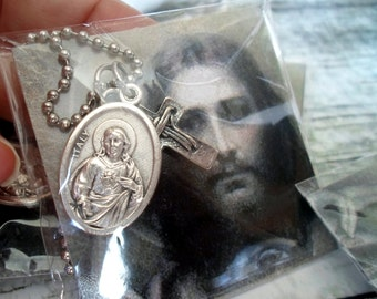Wholesale: Sacred Heart of Jesus With Cross, Immaculate Heart of Mary Gift Packaged With Card, Boys, Teens, Men, Archangel, Catholic Jewelry