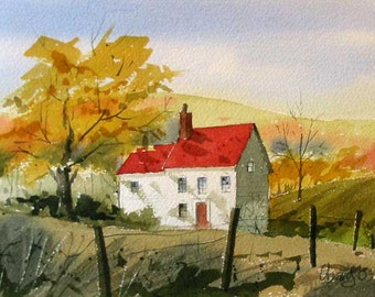 Red Roof House-Print