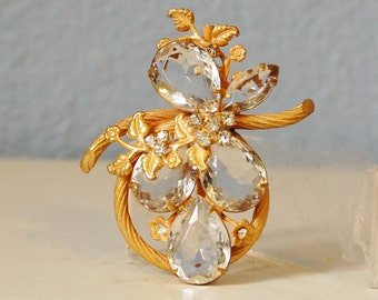 1950s Rhinestone Brooch Unusual Vintage Flowers Crystal Stones Gold Tone