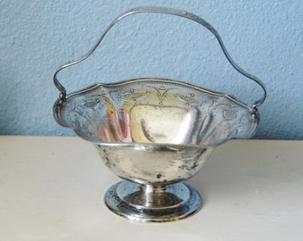 1930s Sterling Bon Bon or Flower Basket Vintage Silver Display Bowl Wedding