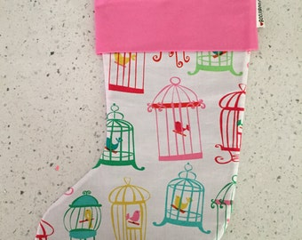 Christmas X'mas Stocking - Bird Cage on White