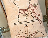 Primitive Hand Stitched Stanley the Snowman Pillow, Winter, Snowflakes, Top Hat, DTHFAAP