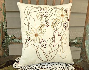 Decorative Prim Summer Wreath Pillow, Hand Stitched Pillow, Flowers