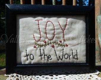 Joy To The World, Stitchery, Christmas, Hand Stitched, CIJ, Christmas In July