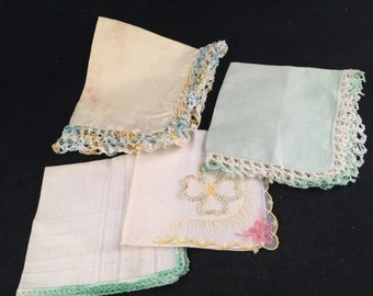 Set of 4 Vintage Green and White Ladies' Hankies (Various Styles and Sizes)
