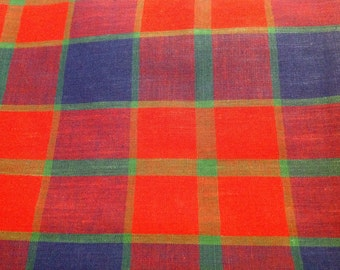 4 1/2 Yards of Vintage Red, Blue, and Green Plaid Cotton Fabric