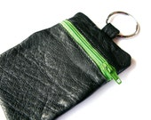 Recycled Leather Keychain & Pouch - Change Purse, Wallet, black leather, apple green zipper