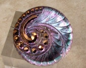 Czech Glass Swirl Button, Aqua, Lilac, Gold, 27mm, With Pendant Converter C502