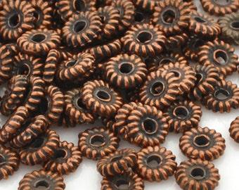 Mykonos Tiny Bali Bronze Patina Metal Spacer Bead, 5 MM 25-Pieces M328