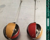 Vintage Globo -- Goldenrod/Scarlet/Chocolate -- Upcycled Tin Dangle Earrings