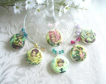 Garden Fairies Wine & Drink Glass Charms - Set of 6
