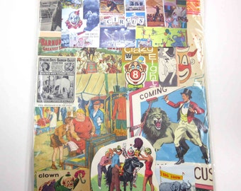 Circus and Clown Ephemera Pack of 65 Pieces of Original Vintage Circus and Clowns for Altered Art