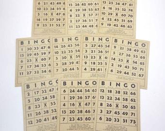 Vintage Black and Tan Bingo Cards Set of 10