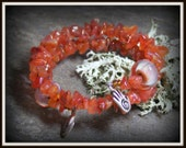 CLEARANCE Orange Carnelian and lampwork glass beads Beaded Bracelet - one size fits most - by Hannah Rosner