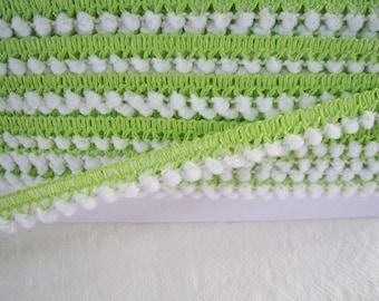 12 yards of Tiny Pom Pom Trim -  Two Tone White and Bright Lime Green -  Pom Pom size 0.3 cm