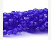 50% OFF SALE Czech Glass Beads Fire Polished Faceted Rounds 3mm Cobalt (50) CZF454