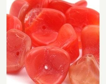 50% OFF SALE Czech Glass Bead Three Petal Flower 10x12mm Red (12) CZP383