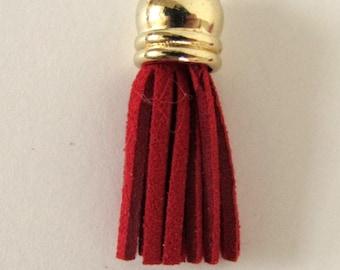 """3 TASSELS Faux suede suedine tassel  in red. 1 3/8"""" long.  T3-519"""