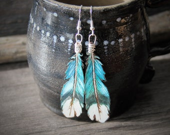 Beautiful blue jay feather collection - gypsy earrings - by Fanny Dallaire -  leather work