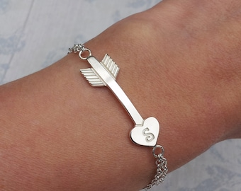 Personalized Sterling Silver Arrow with Heart Bracelet, Cupid's Arrow Personalised Bracelet, Silver Arrow, Heart Arrow with Initial