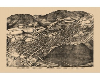 Large 24x36 Antique Vintage Style 1893 Aspen Colorado Map Home Decor Mounted or Unmounted
