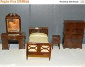 ON SALE Vintage Renwal Dollhouse Miniature Bedroom Furniture Baby Doll House Furniture Bed Dresser Vanity Nightstand