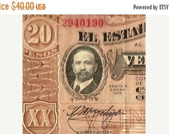 ON SALE WWI era Mexican Banknote El Estado De Chihuahua 1915 20 Pesos Paper Money, Chihuahua Mexico, Series K, Foreign Currency