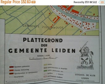 Valentines Day Sale 1970's Map Leiden , Holland , The Netherlands