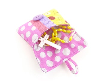 catholic girls first communion gift. baptism confirmation rosary pouch case. pink yellow purple spring cute scrap patchwork ear bud pouch