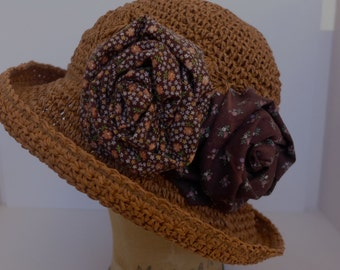 Crocheted Raffia Cloche Hat with Handmade Calico Fabric Roses