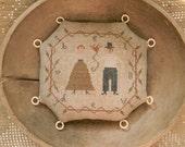 BELOVED Thread & Pin Tuffet cross stitch PAPER PATTERN - from Notforgotten Farm©