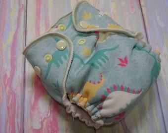 Newborn Fitted Cloth Diaper- Pastel Dinosaur