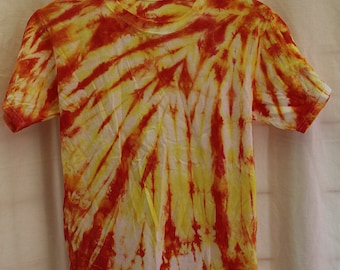 Tie Dye Shirt -Youth Large - Crew Neck- Short Sleeve - Red, Orange, and Yellow - 100% Cotton