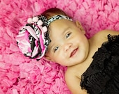 BLACK and PINK DAMASK Christmas vintage inspired satin flower headband with pearls. holiday bow. Flower girl headband. Photo prop. Hot pink.