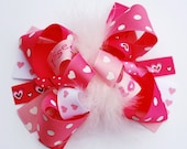 boutique FUNKY FUN pink valentine LOVE hair bow clip