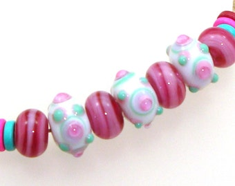 Handmade Lampwork Glass Beads - Lenox! 3 stacked bumpy dots on white, 4 streaky raspberry pink rondelles. Stacked dots, earring pairs.