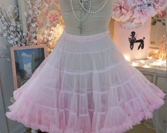 square dance cancan tutu vintage cloud pink chiffon petticoat crinoline skirt. full flouncy fluffy frilled, authentically vintage, by sams